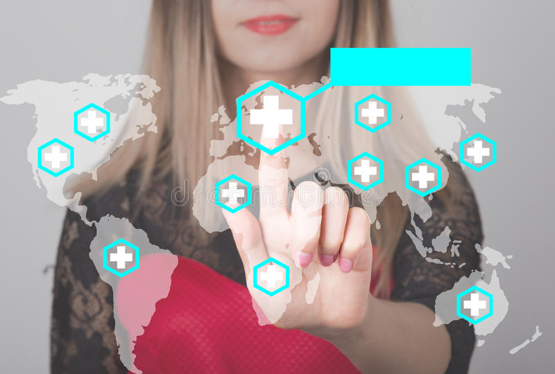 Woman pushing button with cross map medical service web icon. business, technology and internet concept in medicine royalty free stock photos
