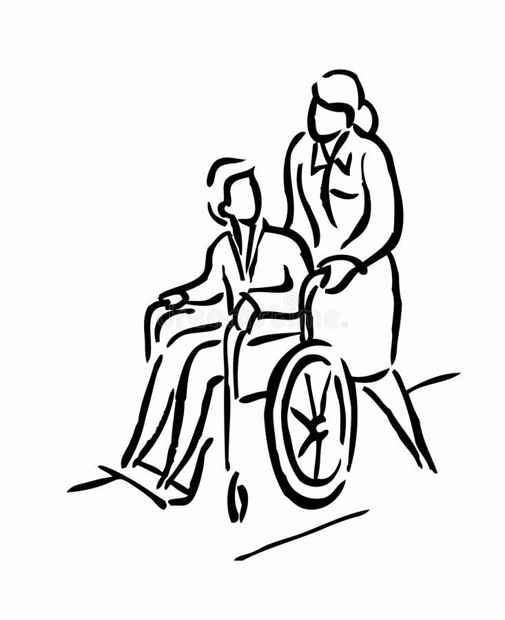 WOMAN PUSHING MAN stock illustration
