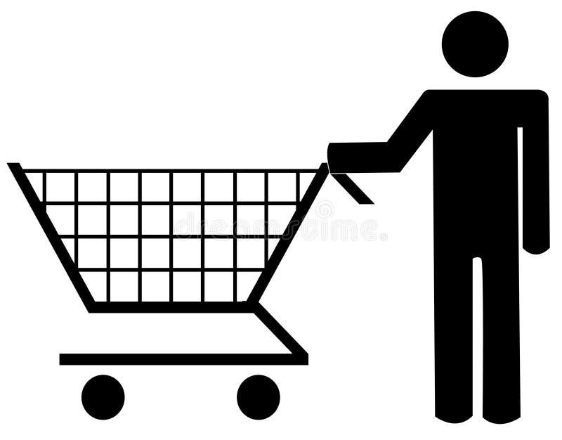 Woman pushing shopping cart vector illustration