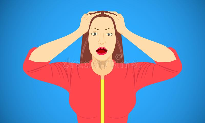 Woman put hand on head for scared shocked frightened appalled skit emotions. vector illustration eps10 stock illustration