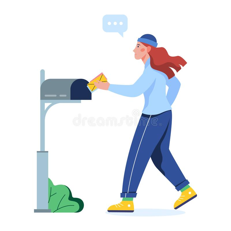 Woman put letter in the mail box. Envelope in the hand. stock illustration