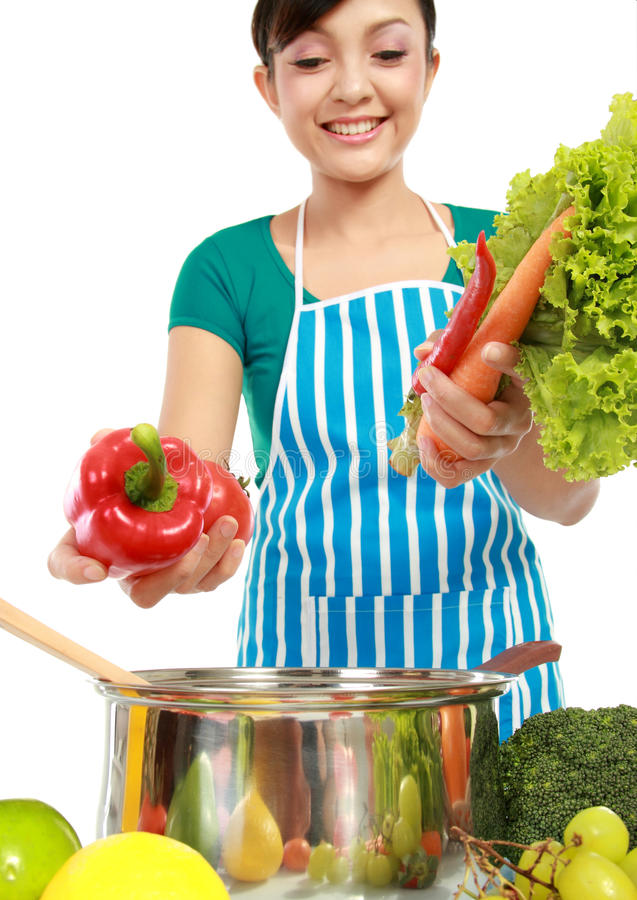 Download Woman Putting A Bunch Of Healthy Ingredients Stock Photo - Image: 23131078