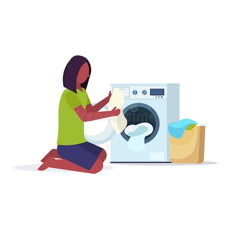 Woman putting dirty clothes into washing machine african american housewife doing housework laundry room cartoon. Character full length flat white background royalty free illustration