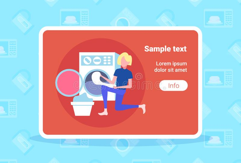 Woman putting dirty clothes in washing machine housewife doing housework laundry room cartoon character full length flat. Horizontal copy space vector vector illustration