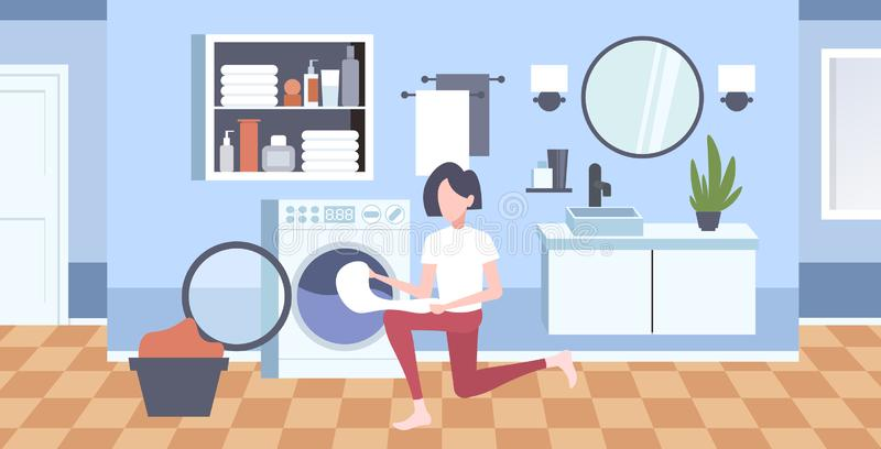 Woman putting dirty clothes into washing machine housewife doing housework modern laundry room interior cartoon. Character full length horizontal flat vector vector illustration