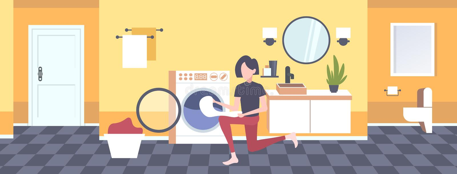 Woman putting dirty clothes into washing machine housewife doing housework modern laundry room interior cartoon. Character full length horizontal flat vector royalty free illustration