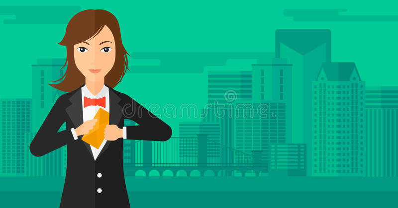 Woman putting envelope in pocket. A business woman putting an envelope in her pocket on the background of modern city vector flat design illustration vector illustration