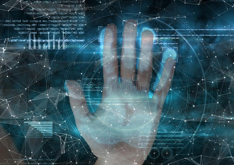 woman putting her hand on hand scan. Blue and with connections stock illustration