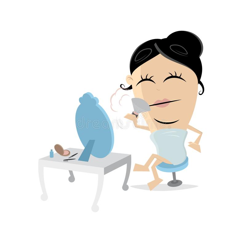 Putting on make-up clipart. Woman putting on make-up clipart royalty free illustration