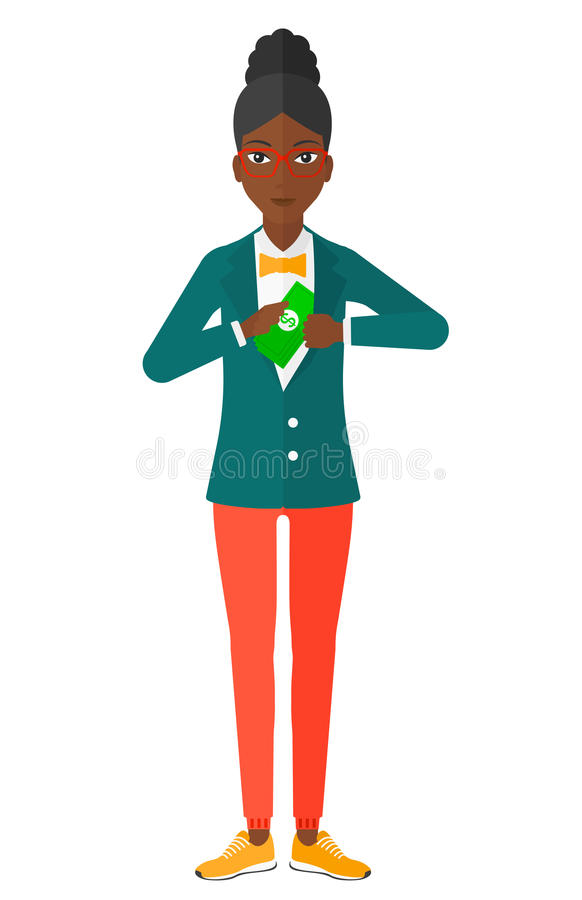 Woman putting money in pocket. An african-american business woman putting money in her pocket vector flat design illustration isolated on white background stock illustration