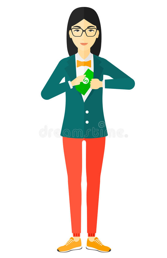 Woman putting money in pocket. An asian business woman putting money in her pocket vector flat design illustration isolated on white background stock illustration