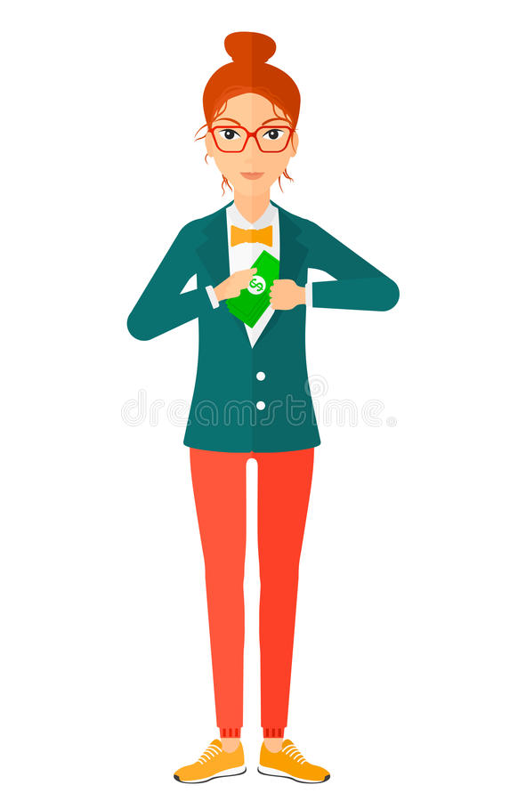 Woman putting money in pocket. A business woman putting money in her pocket vector flat design illustration isolated on white background stock illustration