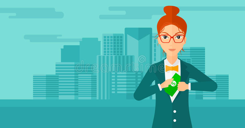 Woman putting money in pocket. A woman putting money in her pocket on the background of modern city vector flat design illustration. Horizontal layout stock illustration