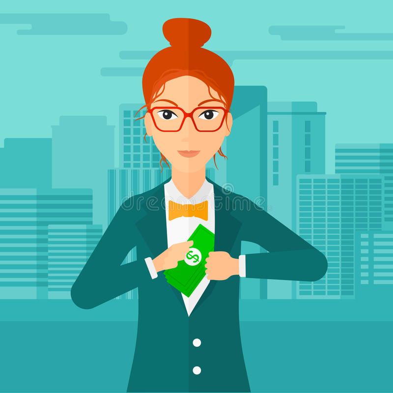 Woman putting money in pocket. A woman putting money in her pocket on the background of modern city vector flat design illustration. Square layout vector illustration