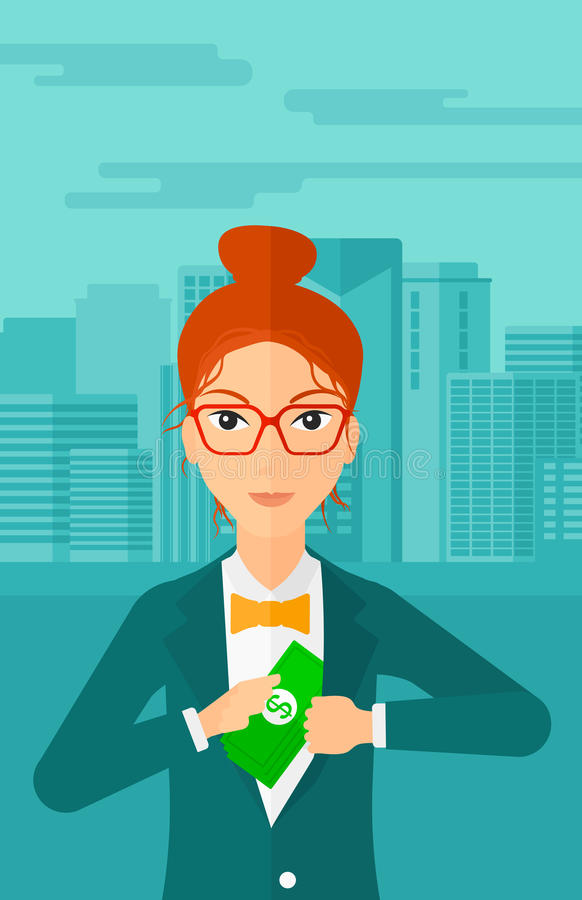 Woman putting money in pocket. A woman putting money in her pocket on the background of modern city vector flat design illustration. Vertical layout vector illustration