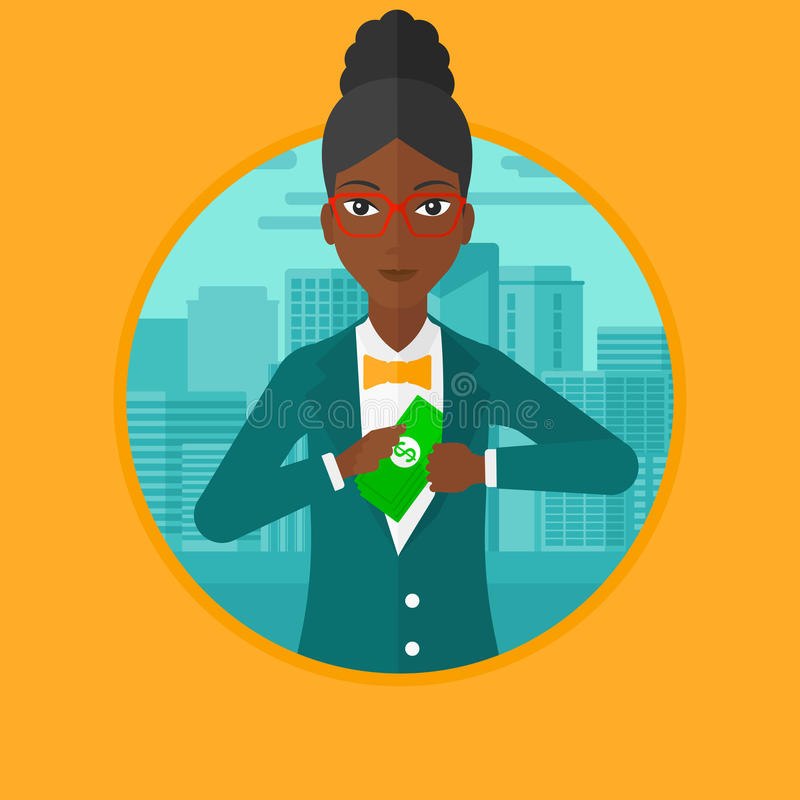 Woman putting money in pocket vector illustration. African-american business woman putting money in her pocket on a city background. Business woman hiding bribe royalty free illustration