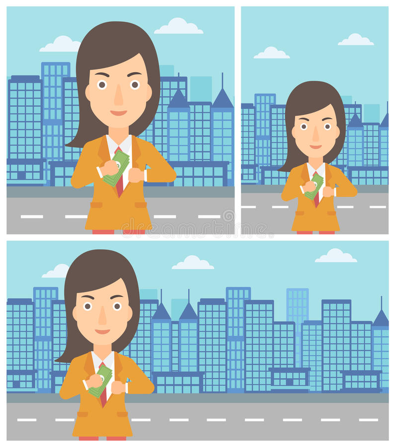 Woman putting money in pocket vector illustration. Young business woman putting money in her pocket on a city background. Vector flat design illustration stock illustration