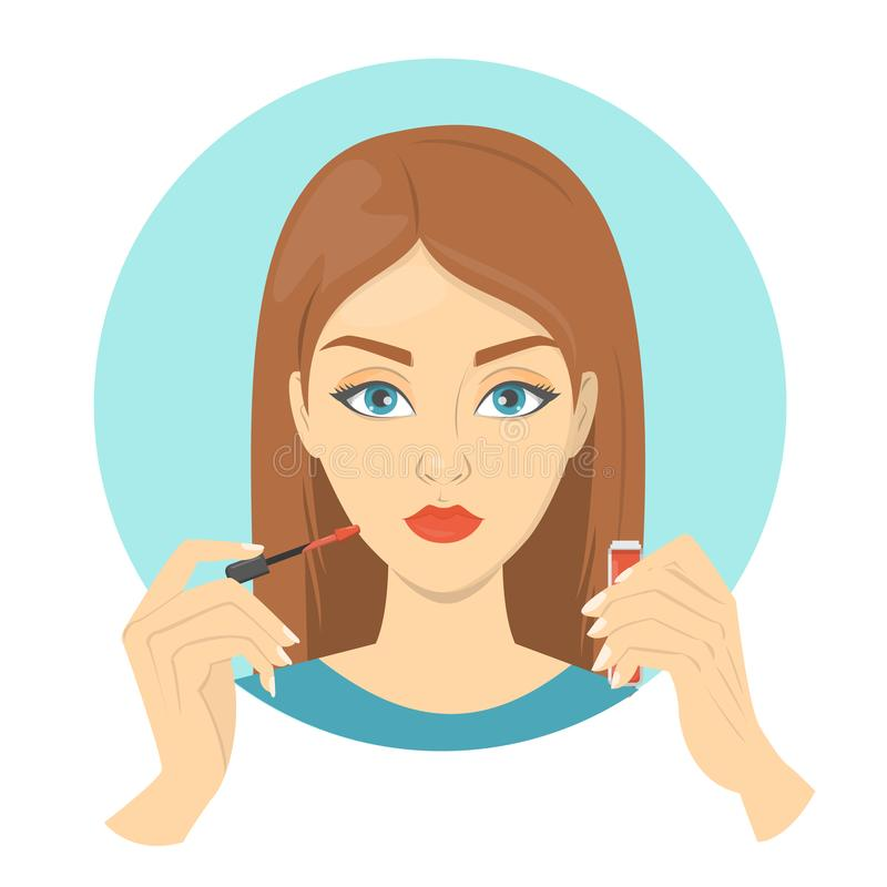 Woman putting red lipstick on her lips. Face makeup, beauty and fashion lifestyle. Isolated vector illustration in cartoon style vector illustration
