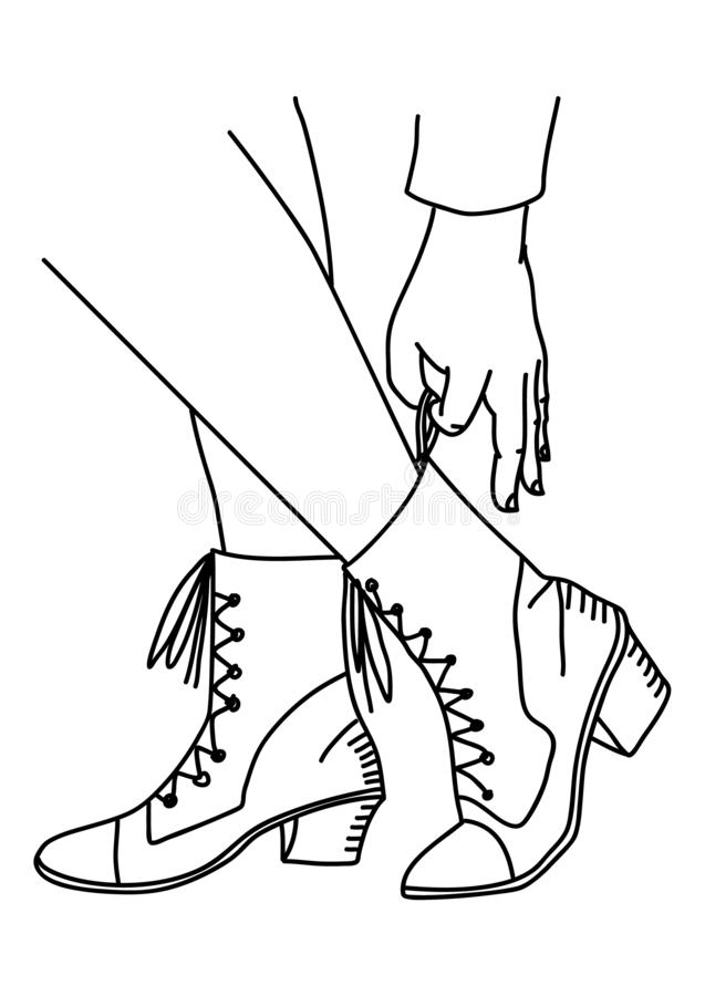 Woman putting on shoes on. White isolated background. Line drawing, Vector vector illustration