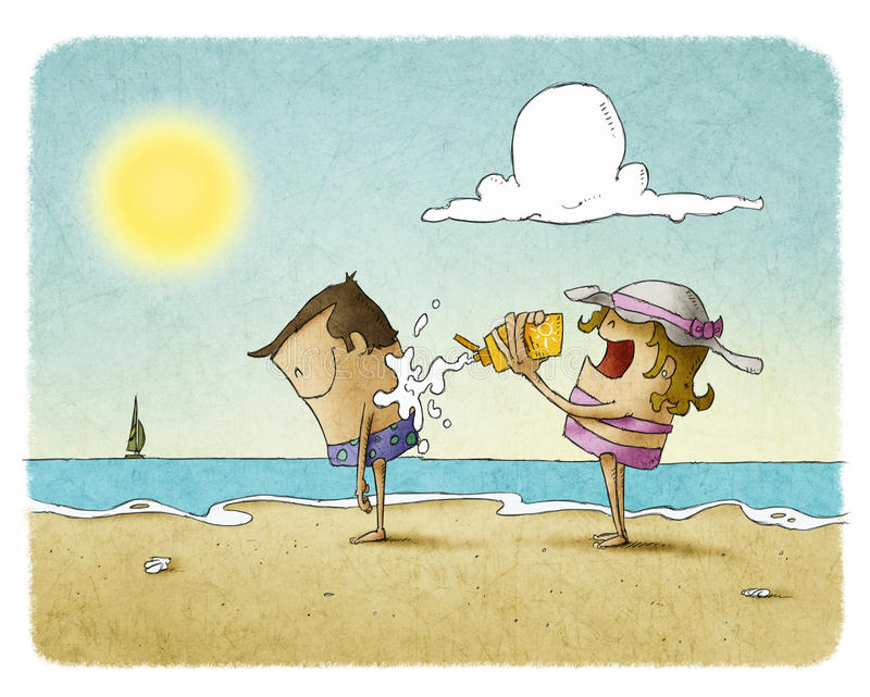 Woman putting sunscreen on a man's back. Woman putting lotion on a man's back at the beach vector illustration
