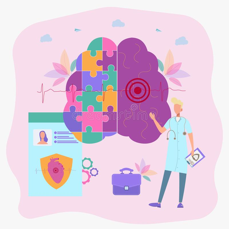 A woman puzzles a human brain. Psychology and psychotherapy session, mental healing and well-being, psychotherapist counseling royalty free illustration