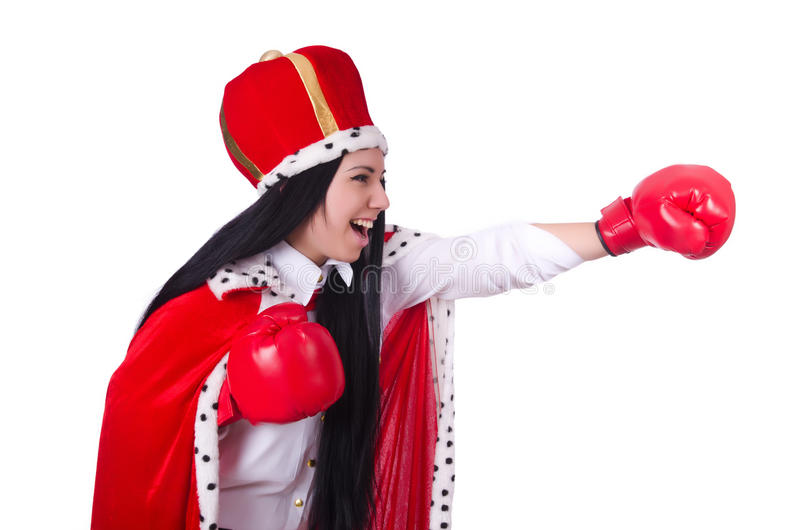 Woman queen. With boxing gloves stock photography