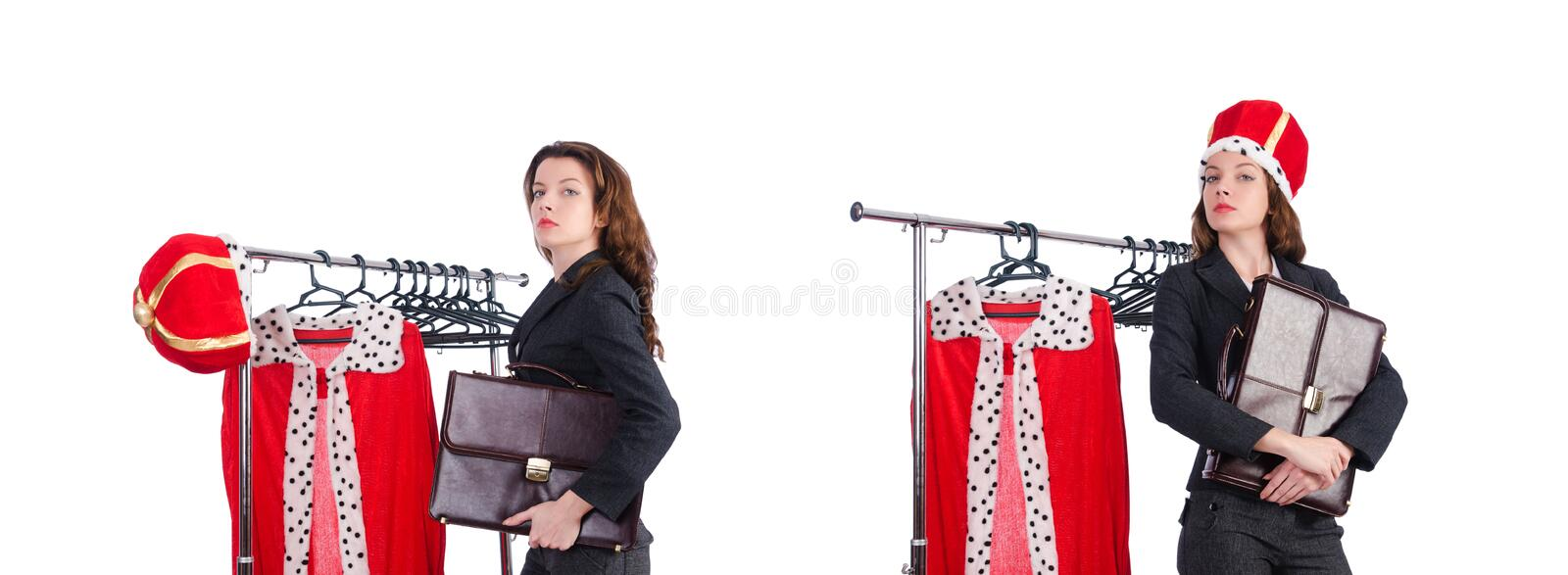 Woman queen in funny concept. The woman queen in funny concept stock images