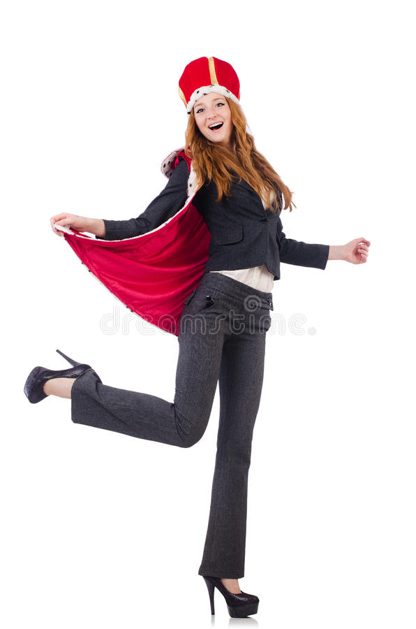 Woman queen. Isolated on the white background royalty free stock photography
