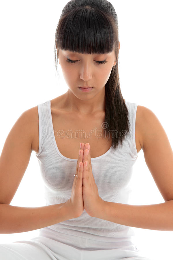 Woman quiet meditation stock photo