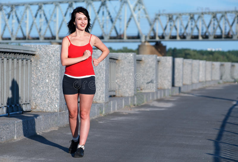 Woman race walking at royalty free stock photos