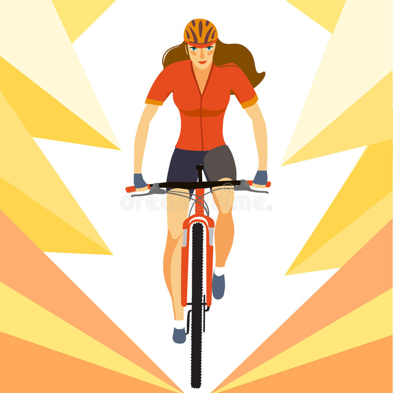 Woman racing mountain cyclist. Racing cyclist woman in action. Fast mountain female biker. Editable illustration vector illustration
