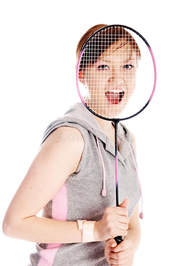 Download Woman with racket stock image. Image of female, moving - 9404141