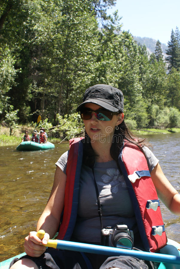 Download Woman Rafting On River stock photo. Image of jacket, rowing - 20674712