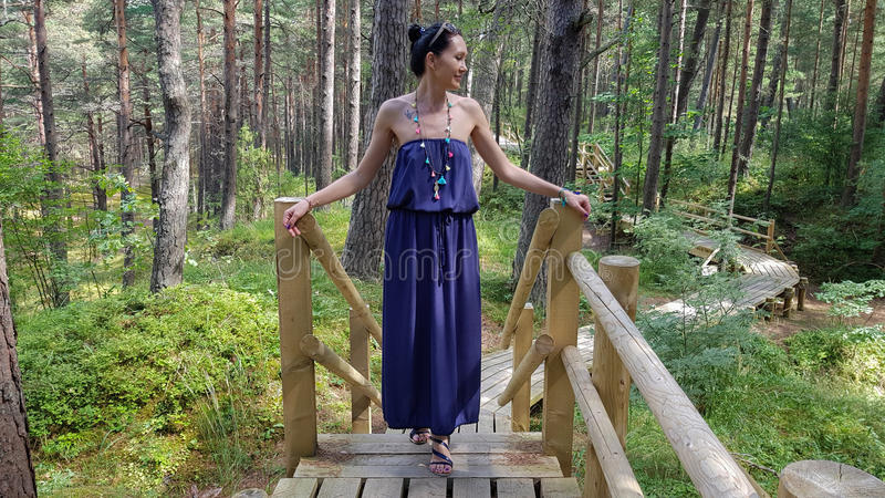 Woman in Ragakapa Nature Park in Jurmala, Latvia. royalty free stock image