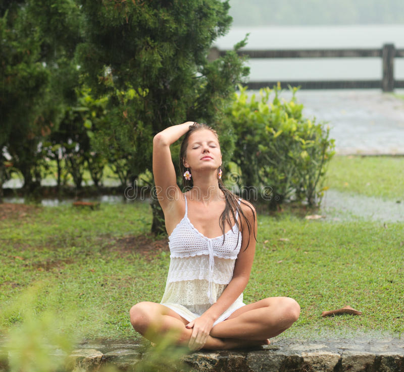Download Woman in the rain stock image. Image of beautiful, tropical - 25363259