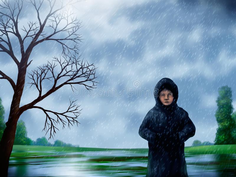 Download Woman In The Rain Painting stock illustration. Illustration of artwork - 20025211