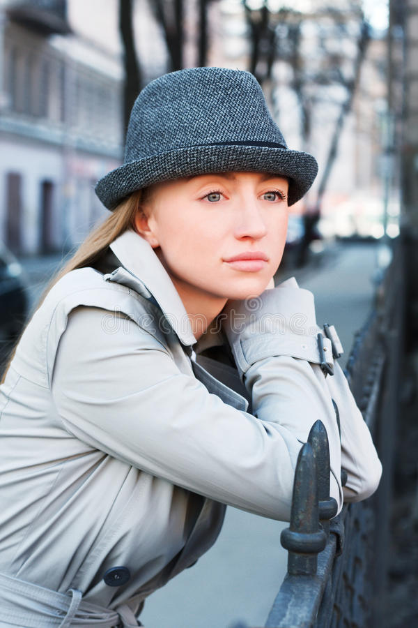 Woman In A Raincoat Royalty Free Stock Photo