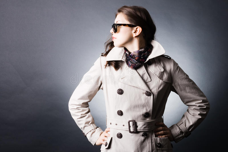 Download Woman In The Raincoat And Sunglasses Stock Image - Image of person, portrait: 19390119