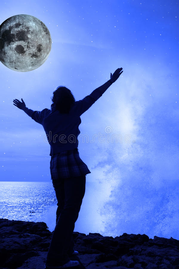 Download Woman With Raised Hands A Wave And Full Moon Stock Image - Image: 18507257