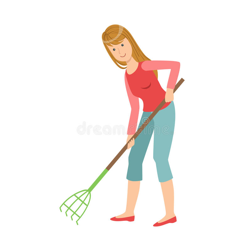 Woman With Rake Gardening, Cartoon Adult Characters Cleaning And Tiding Up. Smiling Person With House Cleanup Tool Doing Up Vector Illustration stock illustration