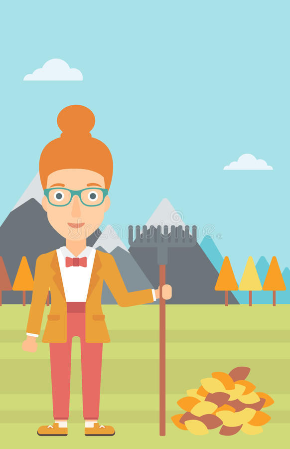 Woman with rake standing near heap of autumn leaves. A woman with rake standing near heap of autumn leaves on the background of mountain landscape vector flat royalty free illustration