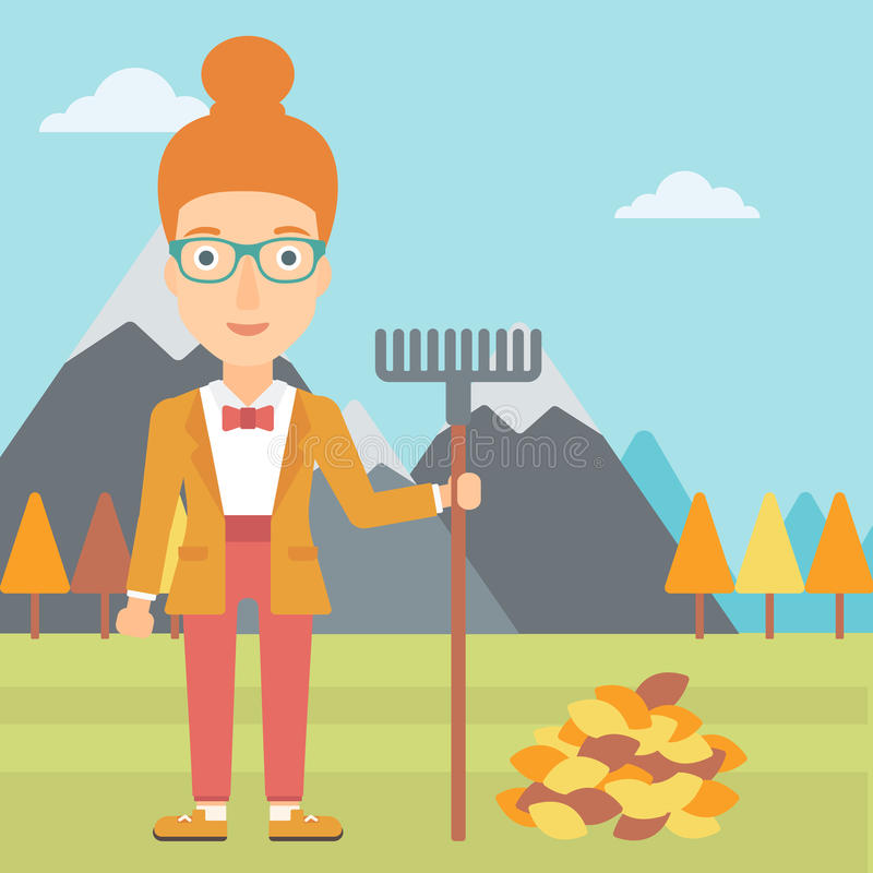 Woman with rake standing near heap of autumn leaves. A woman with rake standing near heap of autumn leaves on the background of mountain landscape vector flat vector illustration