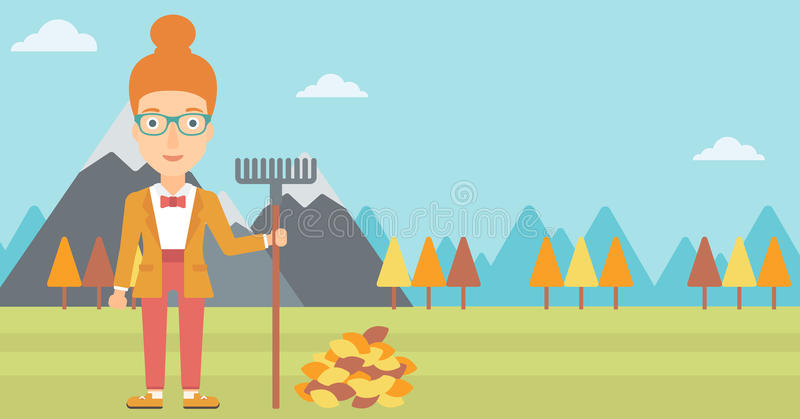 Woman with rake standing near heap of autumn leaves. A woman with rake standing near heap of autumn leaves on the background of mountain landscape vector flat stock illustration