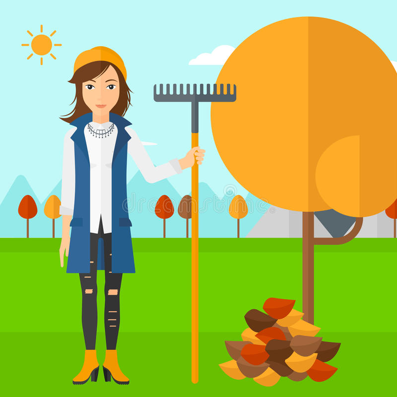 Woman with rake standing near tree and heap of autumn leaves. A woman with rake standing near tree and heap of autumn leaves vector flat design illustration vector illustration