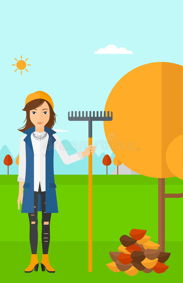 Woman with rake standing near tree and heap of autumn leaves. A woman with rake standing near tree and heap of autumn leaves vector flat design illustration stock illustration