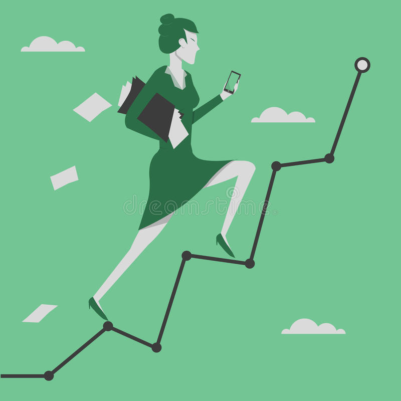 Woman reaching goal and holding smartphone in her hand vector illustration