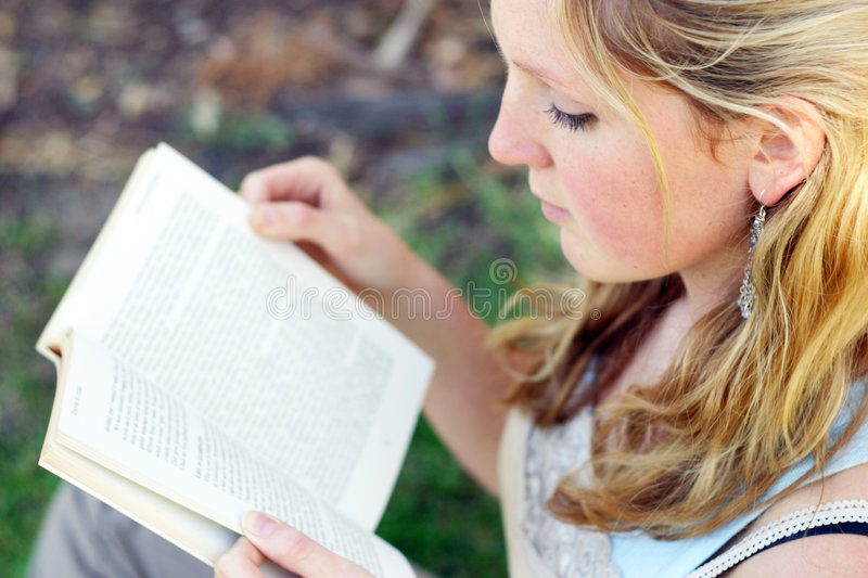 Download Woman reading stock image. Image of outside, woman, attractive - 92645