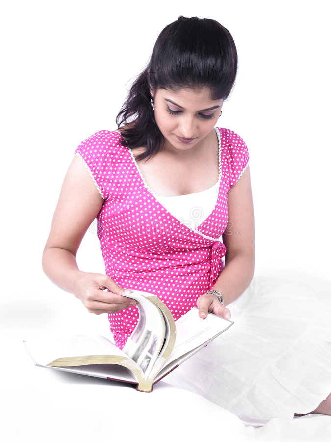 Download Woman reading a book stock image. Image of casual, girl - 7387653