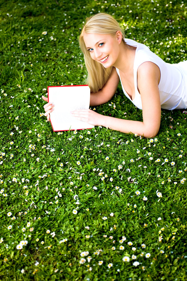 Download Woman reading book stock photo. Image of meadow, down - 9271582