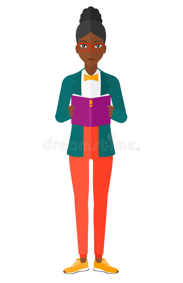 Woman reading book vector illustration